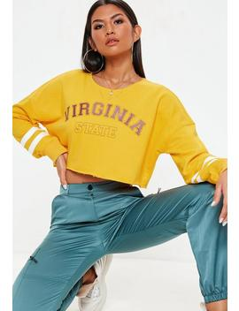Yellow Virginia State Cropped Sweatshirt by Missguided