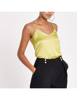 Yellow Cross Back Strap Cami Top by River Island