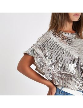 Silver Sequin Embellished Frill Sleeve Top by River Island