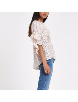 Petite Pink Sequin Frill Sleeve Top by River Island