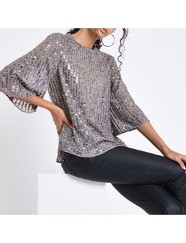 Grey Sequin Embellished Top by River Island