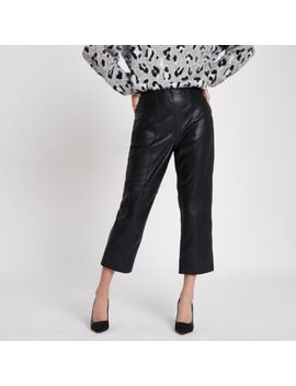 Black Leather Flared Cropped Pants by River Island