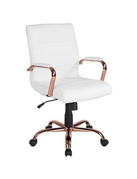 Flash Furniture Mid Back White Leather Executive Swivel Chair With Rose Gold Frame And Arms by Flash Furniture