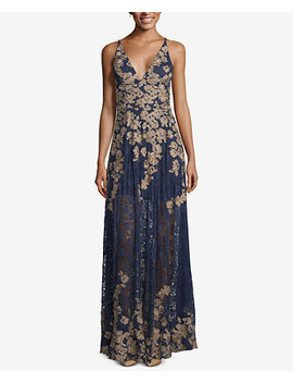 Embroidered Lace Gown by Xscape