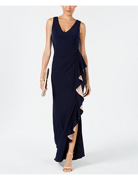 Ruched Contrast Ruffle Gown by Betsy & Adam