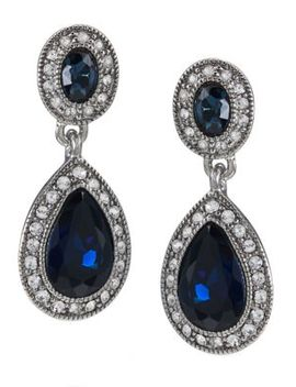 Blue Crystal Double Drop Earrings by Carolee