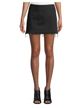Frayed Cotton Twill Mini Skirt by T By Alexander Wang