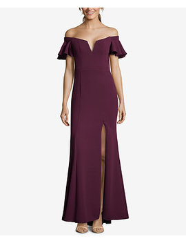 Off The Shoulder Slit Gown by Xscape