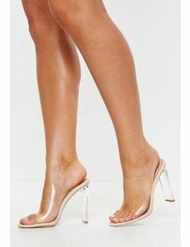 Nude Illusion Heels Clear Mules by Missguided