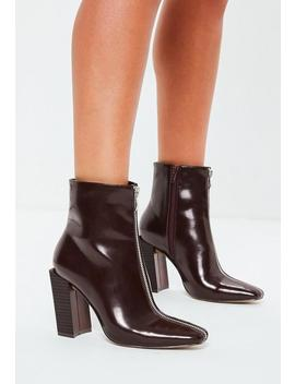 Burgundy Feature Heel Full Zip Ankle Boots by Missguided
