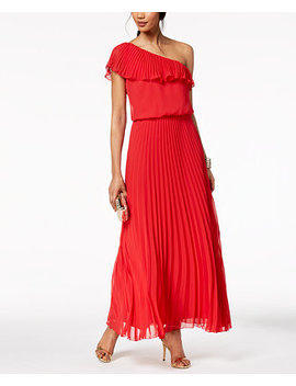 Pleated Chiffon One Shoulder Gown by Xscape