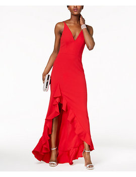 Plunging Ruffled Gown by Betsy & Adam