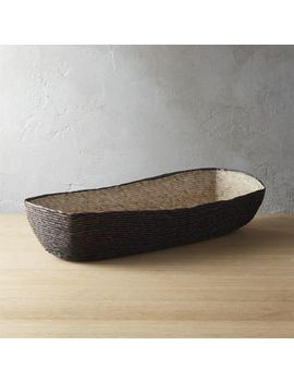 Lorena Long Oval Black Bread Basket by Crate&Barrel