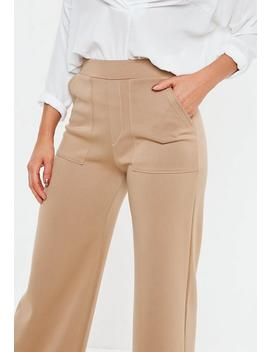 Camel Contrast Stitch Wide Leg Pants by Missguided