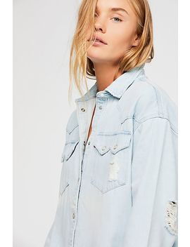 Levi's Oversized Sawtooth Denim Shirt by Free People