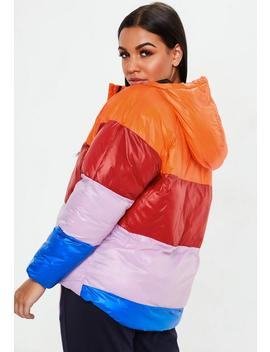 Orange Colourblock Puffer Jacket by Missguided