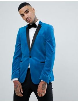 Asos Design Skinny Blazer In Bright Blue Velvet by Asos Design