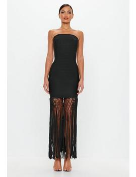 Peace + Love Black Bandage Fringe Midi Dress by Missguided