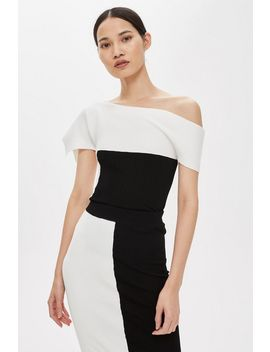 **Asymmetric Ribbed Bardot Top By Boutique by Topshop