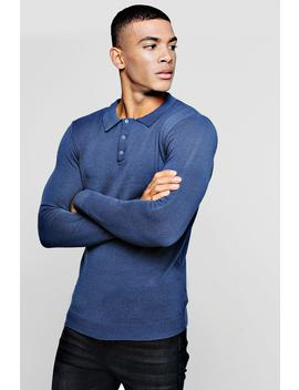 Muscle Fit Long Sleeved Knitted Polo by Boohoo