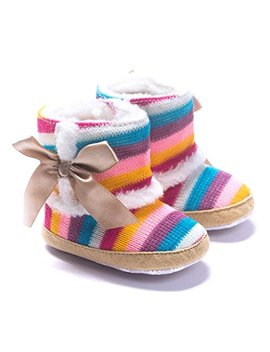 Dzt1968® Baby Girl Rainbow Stripe Coral Fleece Snow Boots Shoes With Bowknot by Dzt1968