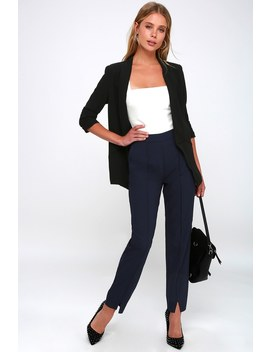 Aisha Navy Blue Trouser Pants by Lulus