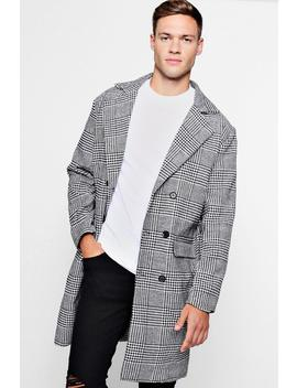 Prince Of Wales Check Wool Look Overcoat by Boohoo