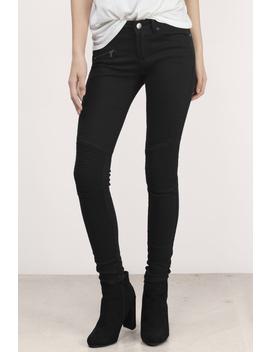 Val Black Skinny Moto Jeans by Tobi