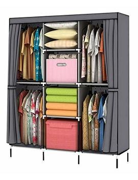 Youud Wardrobe Storage Closet Clothes Portable Wardrobe Storage Closet Portable Closet Organizer Portable Closets Wardrobe Closet Organizer Shelf Wardrobe Clothes Organizer Standing Closet Gray by Youud