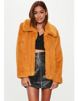 Mustard Faux Fur Collar Crop Coat by Missguided