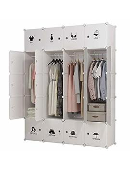 Kousi Portable Clothes Closet Wardrobe Bedroom Armoire Dresser Cube Storage Organizer, Capacious & Customizable, White, 8 Cubes&4 Hanging Sections by Kousi