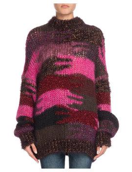 Crewneck Camo Patchwork Mohair Blend Sweater by Saint Laurent