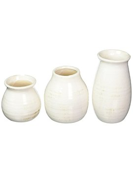 Sullivans Rounded Vase, Worn White by Sullivans