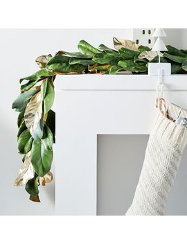 Metallic Magnolia Leaves Garland by West Elm