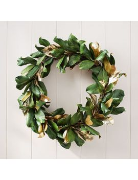Metallic Magnolia Leaves Wreath by West Elm
