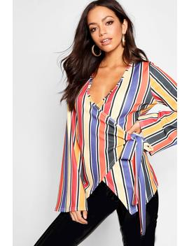 Stripe Wrap Top by Boohoo