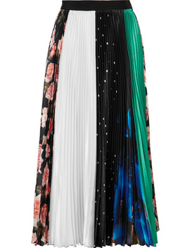 Pleated Printed Satin Midi Skirt by Msgm