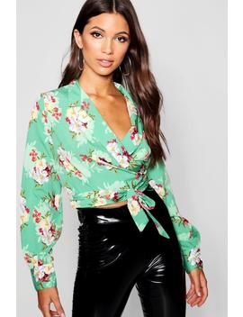 Floral Print Lapel Collar Wrap Crop Top by Boohoo