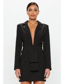 Peace + Love Black Tuxedo Blazer Dress by Missguided