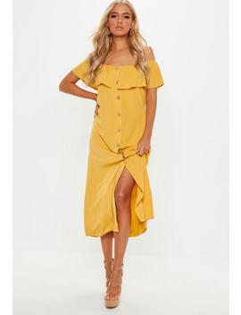 Mustard Bardot Ruffle Midi Dress by Missguided