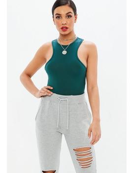 Green Racer Sleeveless Bodysuit by Missguided