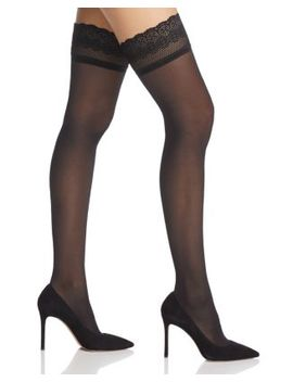Lace Trim Sheer Thigh Highs by Dkny