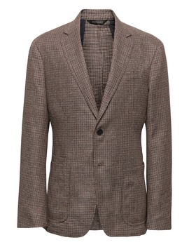 Slim Brown Cotton Linen Blazer by Banana Repbulic