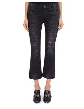 Distressed Cropped Jeans In Leopard Black by The Kooples