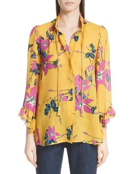 Lily Print Tie Neck Silk Blouse by Etro