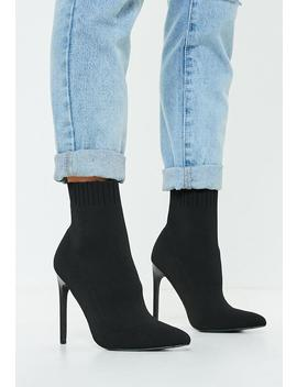 Black Knitted Pointed Toe Sock Ankle Boot by Missguided