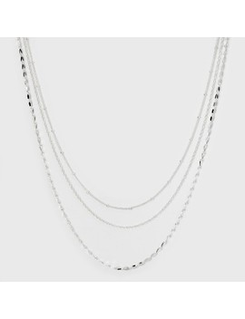 Three Rows Short Necklace   A New Day™ Silver by A New Day™