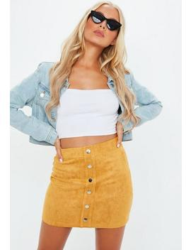 Petite Mustard Button Through Suede Mini Skirt by Missguided
