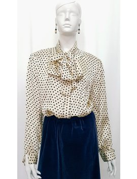 Vintage 80's Jot Toorak Couturier Finest Silk Satin Cream &Amp; Black Polkadot Blouse W Matching Extra Long Sash Tie Scarf  All Hand Tailored by Venusto Vintage