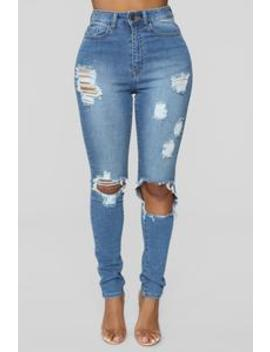 Get With It Distressed Jeans   Medium Blue Wash by Fashion Nova